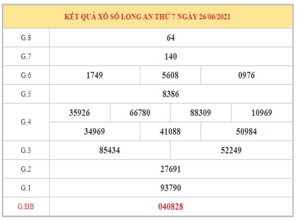 Thống kê KQXSLA ngày 3/7/2021 dựa trên kết quả kì trước